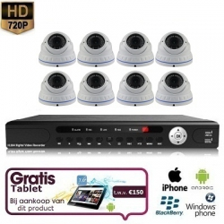 8x Dome Camera Set White 720P HD + TABLET
