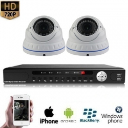 2x Dome Camera Set White 720P HD