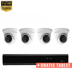 "4x Mini Dome IP Camera 1080P POE Bekabeld + GRATIS TABLET <span class=""smallText"">[41349]</span>"