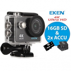 EKEN H9R WIFI Actioncam 4K 16GB SD-kaart + Extra Batterij
