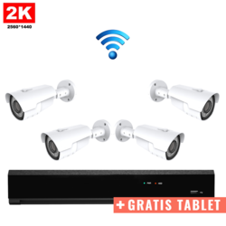 4x IR IP Camera 2K POE Wireless + FREE TABLET