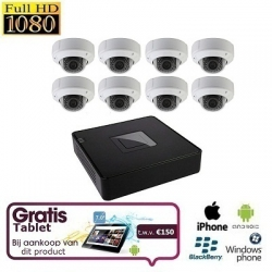 8x HD IP Dome Camera Set + TABLET