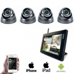 4x Draadloze Dome Camera LCD DVR