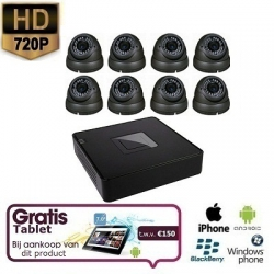 8x HD IP Dome Camera Grijs Set + TABLET
